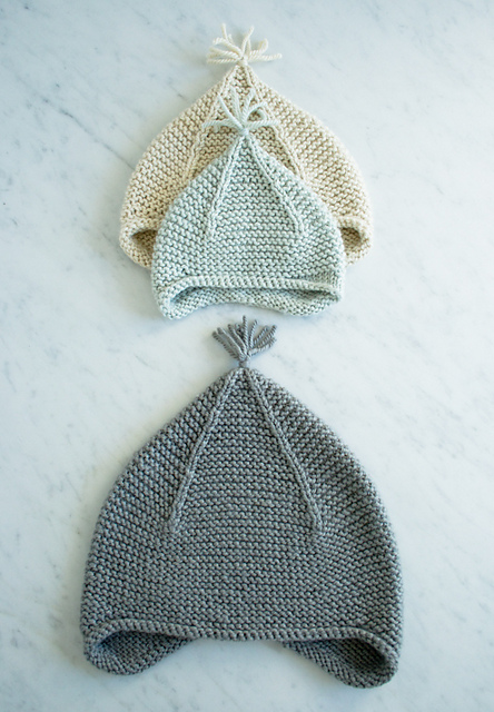 Garter Ear Flap Hat by Purl Bee en worsted cotton